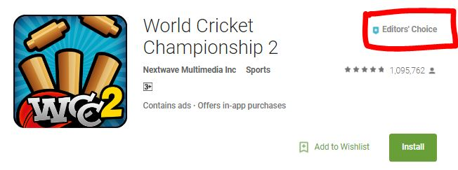 WCC2 makes it to the Editors Choice in Google Play Store