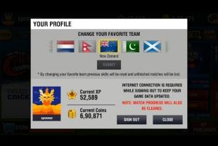 Changing your Favorite country on World Cricket Championship 2